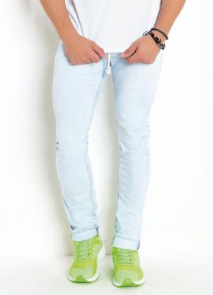 Calça Jeans Skinny Lavação Clara com Cordel