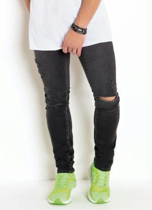 Calça Skinny Lavação Escura com Detalhes Destroyed