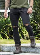 Calça Skinny Preta Destroyed com Bolsos