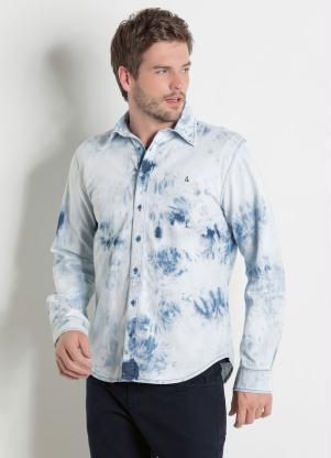 Camisa Actual (Jeans Claro) com Efeito Tie Dye