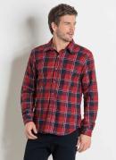 Camisa em Flanela Xadrez Vermelho Actual