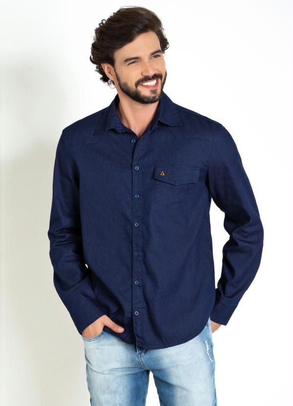 Camisa (Azul) com Bolso Funcional e Botões