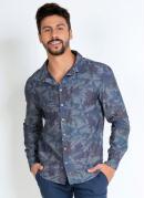 Camisa Folhagem Azul com Mangas Longas