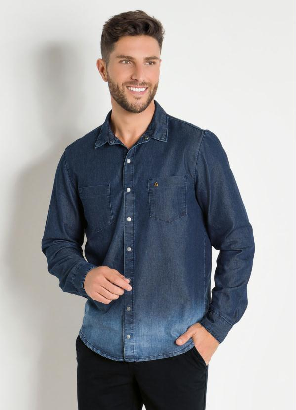 Camisa (Azul) Jeans Actual com Efeito Degrade