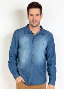 Camisa Jeans Manga Longa com Spray
