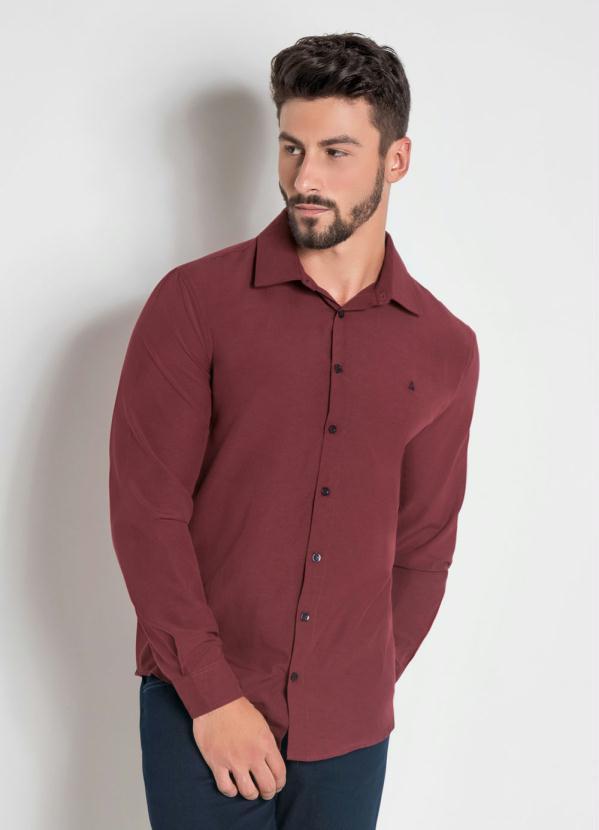 Camisa Social Actual em Tricoline Bordo