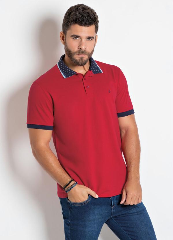 Camisa Polo Actual (Vermelha) com Detalhes na Gola
