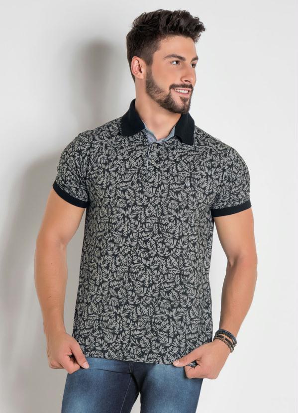 Camisa Polo (Folhagem) com Detalhes em Preto