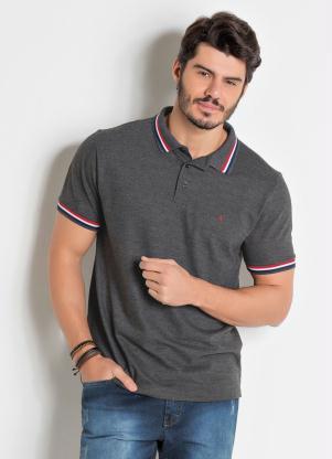 Camisa Polo (Cinza) Detalhe em Cor Contrastante