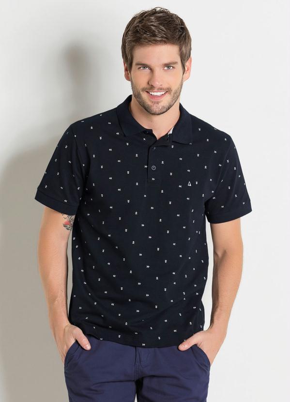 Camisa Polo Actual (Preta) com Estampa