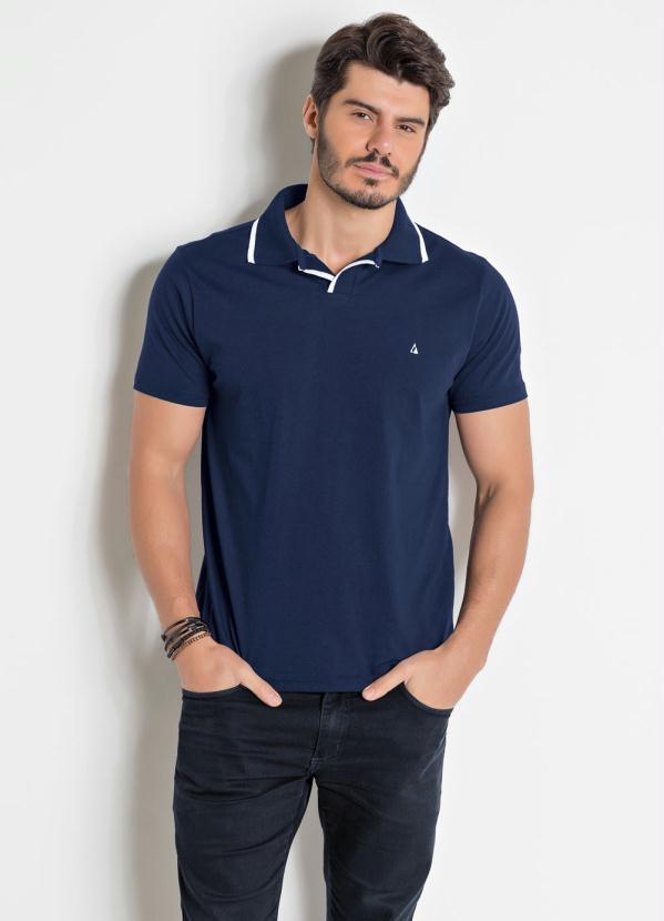 Camisa Polo (Marinho) com Detalhes em Branco