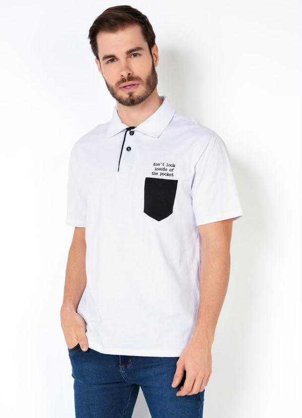 Camisa Polo (Branca) com Bolso e Bordado