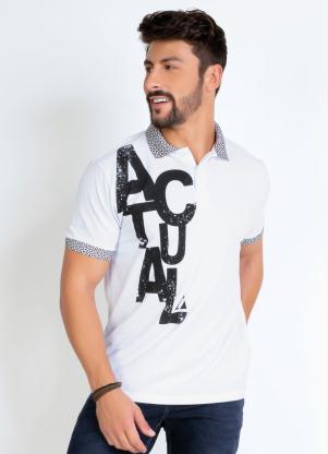 Camisa Polo (Branca) com Detalhes Contrastantes