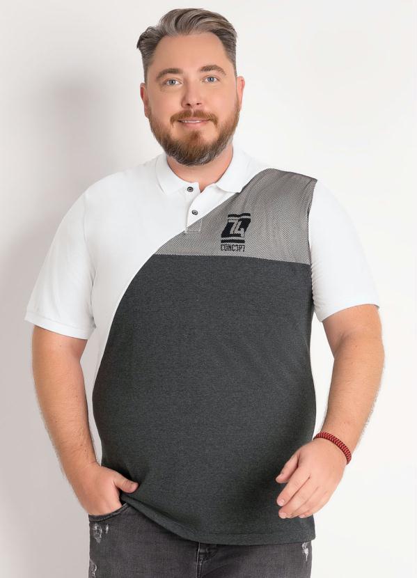 Camisa Polo (Branca e Mescla) Recortada Plus Size