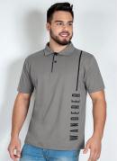 Camisa Polo Cinza com Estampa Localizada