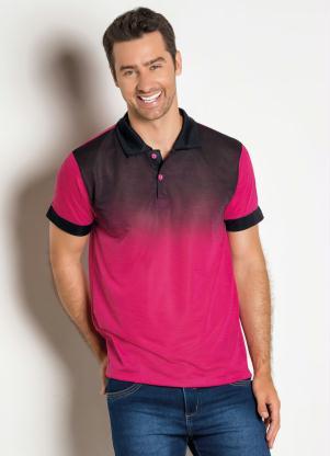Camisa Polo com Degradê Frontal (Rosa e Preta)