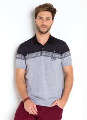 Camisa Polo com Detalhes Listrados (Mescla)