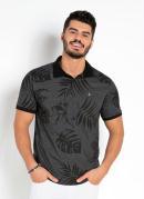 Camisa Polo Folhagem Chumbo com Mangas Curtas