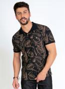 Camisa Polo Folhagem Preta com Mangas Curtas