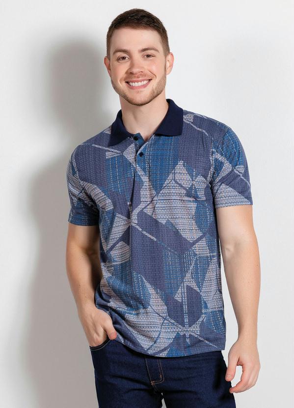 Camisa Polo (Geométrica Azul) com Botão Funcional