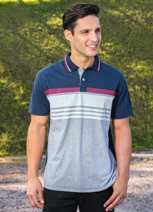 Camisa Polo (Marinho) com Detalhes de Listras