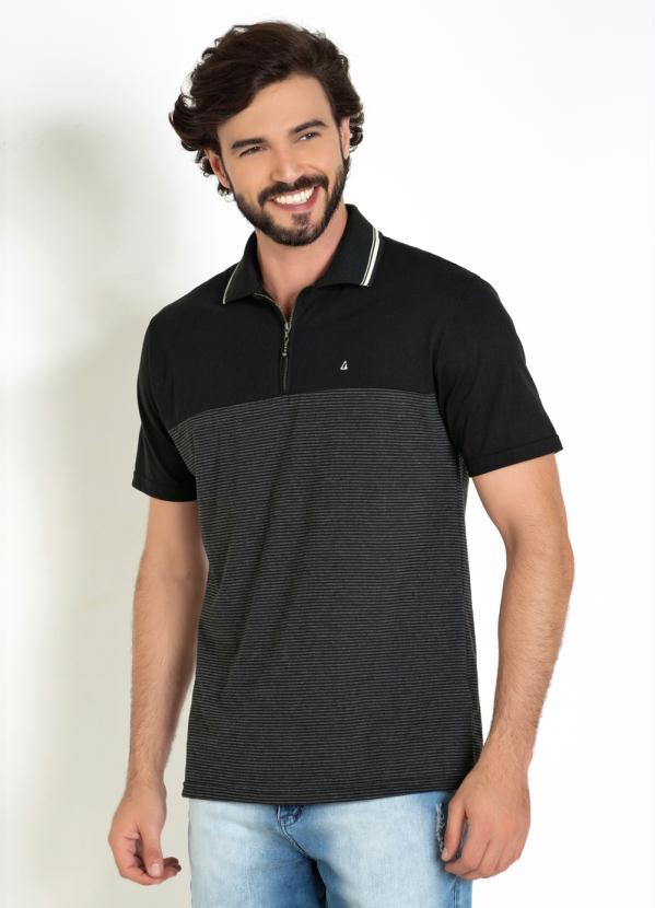 Camisa Polo (Preta) com Recorte e Zíper na Frente