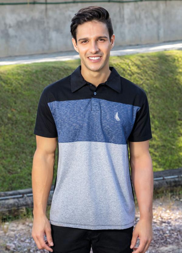 Camisa Polo (Preta e Mescla) com Recortes Frontais