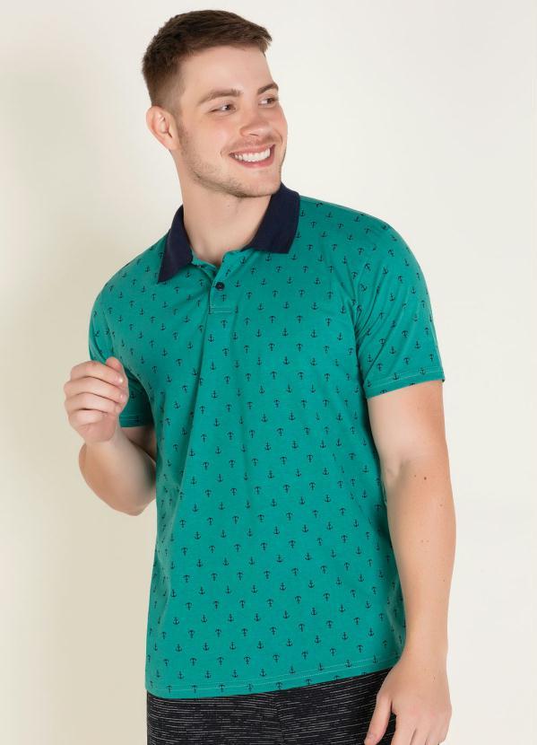 Camisa Polo (Verde) com Estampa de Âncoras