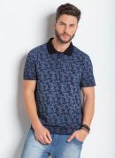 Camisa Polo Azul Actual com Estampa de Folhas