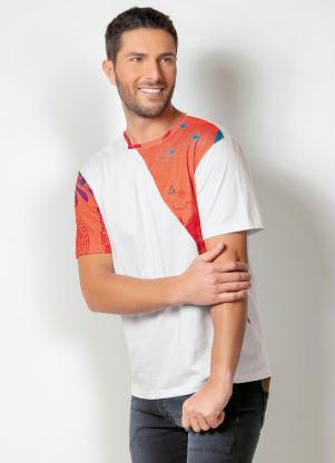 Camiseta Actual (Branca) com Barra Estampada
