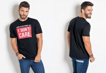 Camiseta Actual Preta com Estampa Localizada