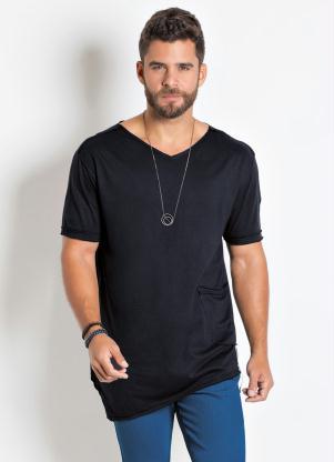 Camiseta Actual (Preta) Long Line Assimétrica