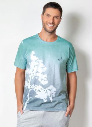 Camiseta Actual (Verde) com Efeito Spray e Vazados