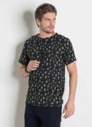 Camiseta Actual Preta com Estampa de Cactus
