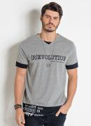 Camiseta Cinza e Preta Actual com Escritas