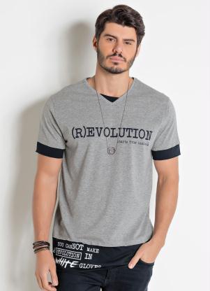 Camiseta (Cinza e Preta) Actual com Escritas