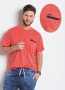 Camiseta de Algodão Laranja com Bordado