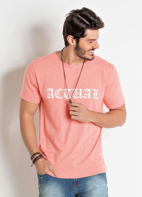 Camiseta com Estampa Actual (Coral)