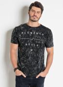 Camiseta Preta Actual Lavação Marmorizado