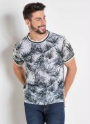 Camiseta Folhas com Detalhes na Gola e Mangas
