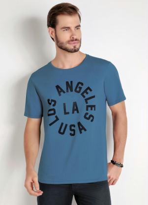 Camiseta (Azul) com Estampa Frontal
