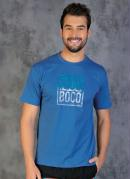 Camiseta Azul com Estampa na Frente e Mangas