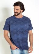 Camiseta Azul com Tie Dye em Renda