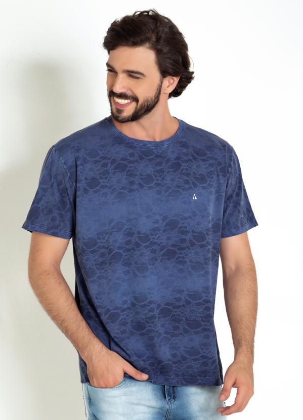 Camiseta (Azul) com Tie Dye em Renda