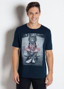 Camiseta Azul Escuro com Estampa Frontal