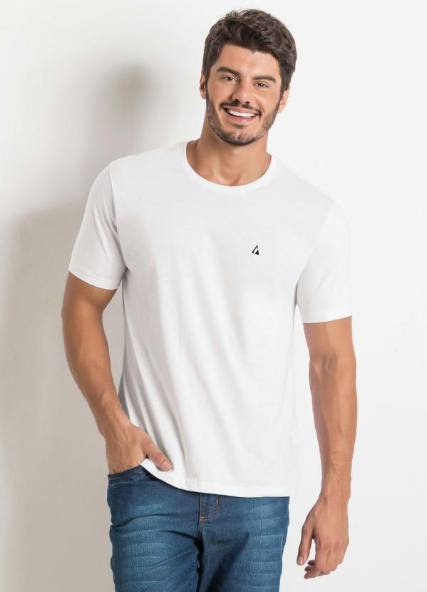 Camiseta Básica com Detalhe Bordado (Branca)