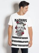 Camiseta Branca com Estampa e Escrita Nothing