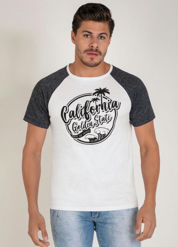 Camiseta (Branca e Mescla) com Estampa na Frente