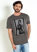 Camiseta Chumbo com Estampa Frontal