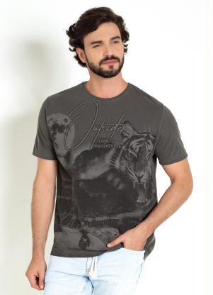 Camiseta (Chumbo) com Frente Inteira Estampada